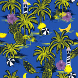 Summer bright seamless island pattern. Landscape with palm trees,fruit,hibiscus flower,banana,orange,beach and ocean vector hand drawn style - 229009745
