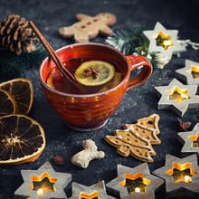 """Постер, картина, фотообои """"Christmas tea with spice and gingerbread cookie"""""""