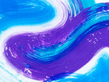 Blue and violet creative abstract hand painted background, brush texture