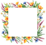 Square frame with wildflowers. Watercolor template for your invitations; advertisements and posts.