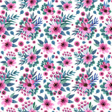 Floral seamless pattern with watercolor flowers