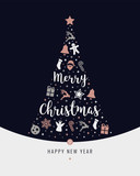 christmas tree rose gold icon elements lettering blue background