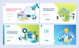 Set of landing page template for business, consulting, finance and marketing. Modern vector illustration flat concepts decorated people character for website and mobile website development. - 229053153