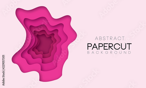 Vector papercut background with shapes in pink color. - 229057301