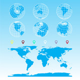 globe set, diagram, infographic, statistical charts for scientific papers, infographics, world map