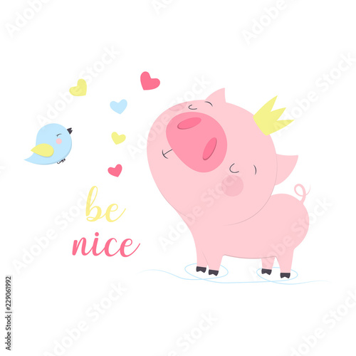 illustration with cartoon pigs - 229061992