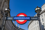View of the underground station sign at Piccadilly Circus