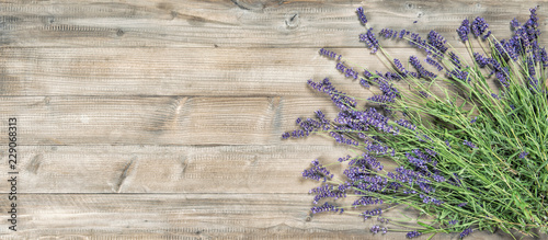 Lavender flowers rustic wooden background Vintage picture - 229068313