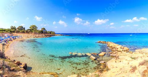 Leinwanddruck Bild A view of a azzure water and Nissi beach in Aiya Napa, Cyprus
