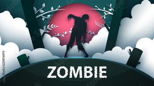 Zombie horror illustration. Cartoon paper landscape. Vector eps 10 - 229076979