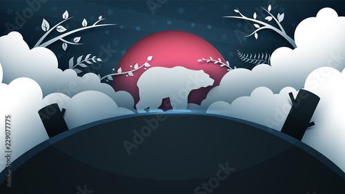 Cartoon bear illustration. Paper landscape. Vector eps 10