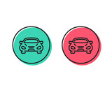 Car transport line icon. Transportation vehicle sign. Driving symbol. Positive and negative circle buttons concept. Good or bad symbols. Car Vector