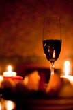 Romantic evening with red wine & candles. - 229080191