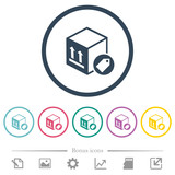 Package labeling flat color icons in round outlines
