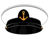 Service cap of the sea captain on white background