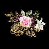 Bouquet with gold graphic and watercolor flowers. Rose, lily and berries. - 229105159