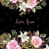 Wedding cards with golden graphic and watercolor flowers. Rose, lily and berries.  - 229105172