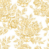 Beautiful graphic pattern with roses flowers and leaves.  - 229105196