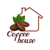 coffee house logo, coffee cup design template, coffee shop emblem, hot drink emblem, vector graphics to design