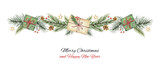Fototapety Watercolor vector Christmas wreath with green fir branches and gift.
