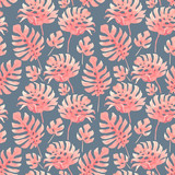 Watercolor tropical palm leaf pattern - 229121705