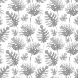 Watercolor tropical palm leaf pattern - 229121732