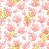 Watercolor tropical palm leaf pattern - 229121764