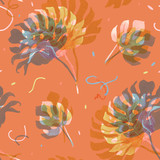 Watercolor tropical palm leaf pattern - 229121790