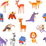 Animals seamless pattern, lion and zebra, macaque and elephant