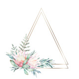 Watercolor greenery geometric frame with flower, eucalyptus and fern. Hand drawn illustration - 229128716
