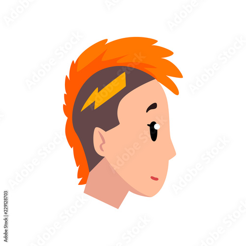Head Of Girl With Mohawk Hairstyle Profile Of Young Woman With