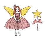Charming little girl with a magic wand and fairy wings. A little angel. Graphic hand drawn illustration.