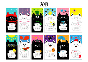 Cat horizontal monthly calendar 2019. Cute funny cartoon character set. All month. Happy Valentines Christmas St Patrick day Easter Egg Bird Chicken Umbrella, rain. Santa hat, sun Flat design