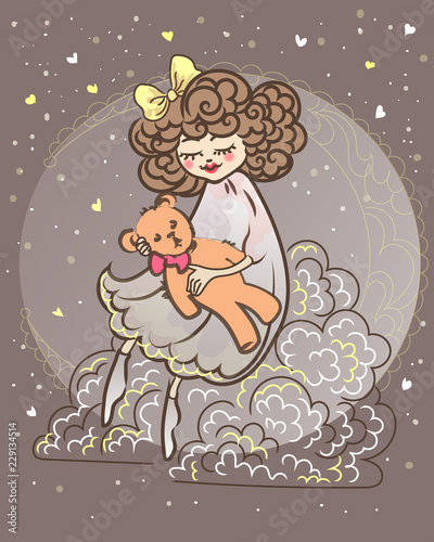 eautiful little sleepy girl shakes a teddy bear in her arms sitting on a cloud and moon - 229134514