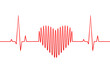 Red heartbeat, heart rate line and wave as love or health and medicine concept. Creative vector illustration.