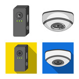 Vector design of cctv and camera symbol. Collection of cctv and system stock symbol for web. - 229139302