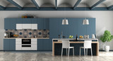 White and blue contemporary kitchen - 229140998