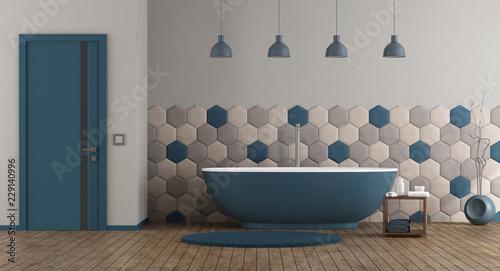 Niebieska i szara nowoczesna łazienka