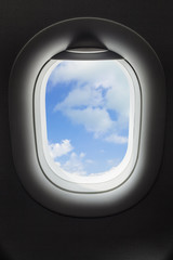 Sky in airplane window