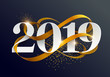 New Years 2019. Greeting card with date and ribbon - 229142131