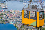 Ulriken cable railway in Bergen, Norway. Gorgeous views from the top of the hill. - 229147154