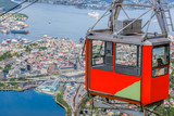 Ulriken cable railway in Bergen, Norway. Gorgeous views from the top of the hill. - 229147188