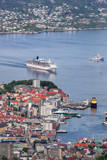 Famous Bergen harbor with boats in Norway, UNESCO World Heritage Site - 229147382