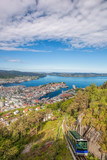 View of Bergen city with lift in Norway - 229147992