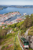 View of Bergen city with lift in Norway - 229148198