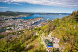 View of Bergen city with lift in Norway - 229148337