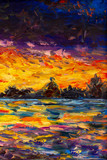Seascape oil painting art. Bright sunset over water, sea, ocean - impressuionism palette knife fine art impasto landscape on canvas - 229152121