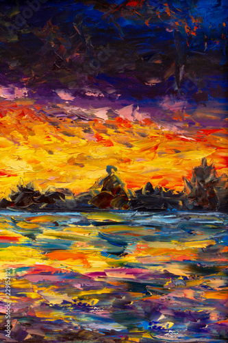 Seascape oil painting art. Bright sunset over water, sea, ocean - impressuionism palette knife fine art impasto landscape on canvas
