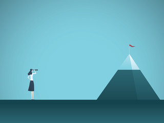 Businesswoman looking at mountain vector concept. Symbol of business goals, objectives, opportunities and vision.