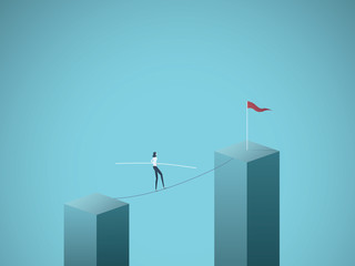 Businesswoman walking across gap on a tightrope vector concept. Symbol of business risk, courage, adventure, success and ambition, motivation.